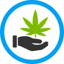 addiction, cannabis, ganja, hand, illegal offer, leaf, marijuana icon