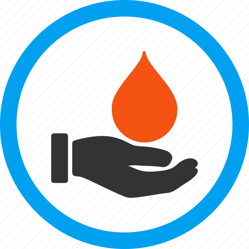 blood, care, charity, donate, drop, offer, support hand icon