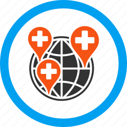company, earth, global clinic, globe, health care, hospital map, world icon