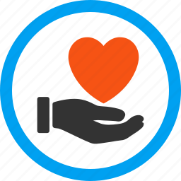 charity, hand, heart, help, love, palm, support icon