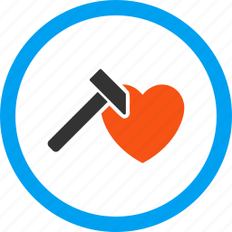 break tool, hammer, heart, love, romance, romantic, valentine icon