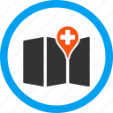 hospital, location, medical map, navigation, orientaion, pin, point icon