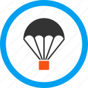chute, drop, landing, parachute, parachutism, sky diving, skydiving icon