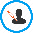 drug, injection, medical, needle, patient vaccination, syringe, vaccine icon