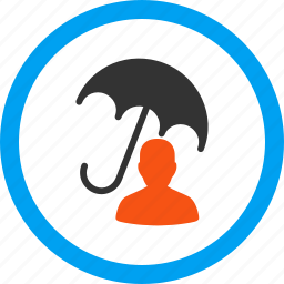 account protection, person, protect, safety, umbrella, user profile, weather icon