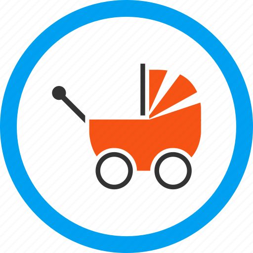 baby carriage, infant, kid, newborn, perambulator, pram, transport icon