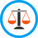 balance, compare, court, justice, law, scales, weight icon