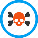 bones, danger, dead head, death, piracy, skeleton, skull icon