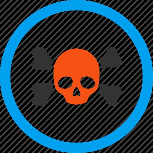 bones, danger, dead head, death, piracy, skeleton, skull icon