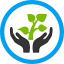 agriculture, care hands, creation, ecology, leaf, nature, plant sprout icon