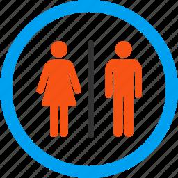 bathroom, lady room, lavatory, restroom, toilets, washroom, wc icon