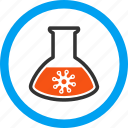 danger, flask, laboratory, medical container, retort, test tube, virus analysis icon