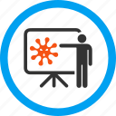 analytics, bacteria, conference, lecture, speech, teacher, virus report icon