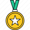 achievement, badge, medal, star, success, win icon