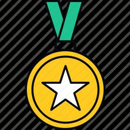 achievement, badge, medal, star, success, win icon