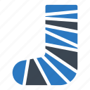 injury, leg, medical, plaster, treatment icon