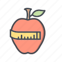 apple, diet, fitness, health icon
