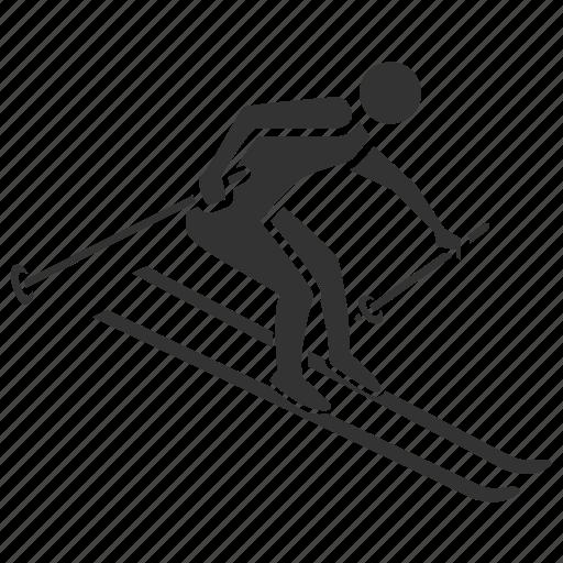 activities, health, hobby, salubrious, skier, skiing, slalom icon
