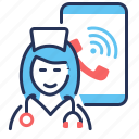 call, doctor, online, smartphone icon