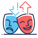 comedy, drama, masks, mood icon
