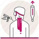 dengue fever, health, mosquito, problems, sick, thermometer icon