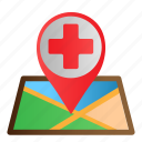 healthcare, location, map, medical, pin