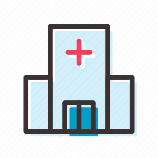 building, cross, hospital icon