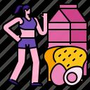 bread, diet, food, healthfood, healthy, meal, milk