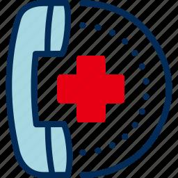 call, emergency, helpline, hospital, receiver icon