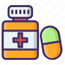 capsules, medication, medicine, pharmaceutical, pills jar, remedy icon