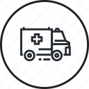 ambulance, department, emergency, healthcare, line, medicine, transport icon