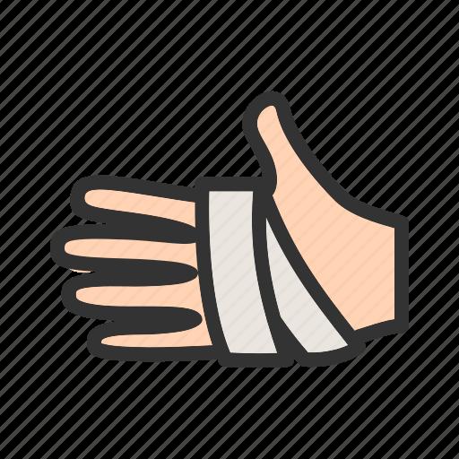 aid, bandage, bandaged, care, hand, human, injury icon