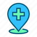 clinic, healthcare, hospital, location, map, medical, pin icon