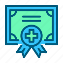 certificate, doctor, health, healthcare, hospital, medical, medicine icon