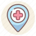 gps, hospital, location, medical icon