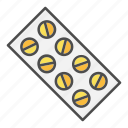 medical, pills, strip, tablet, tablets icon