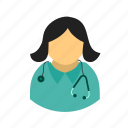 doctor, female, medical, occupation, professional, stethoscope, woman icon