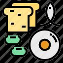 biotin, bread, fish, soybeans icon
