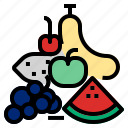 apple, banana, fruit, orange icon