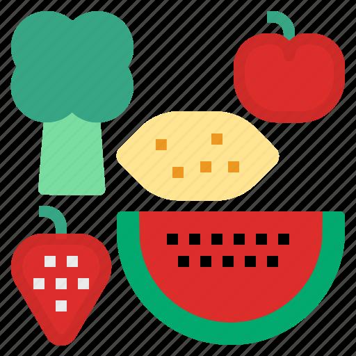 c, fruit, vitamin icon