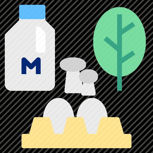 egg, milk, mushroom icon