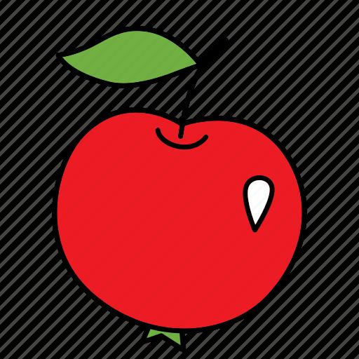 apple, bio, food, fruit, product, red, vegan icon