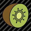 bio, food, fruit, green, kiwi, tropic, vegan icon