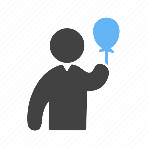 ballons, hand, holding, in, person icon