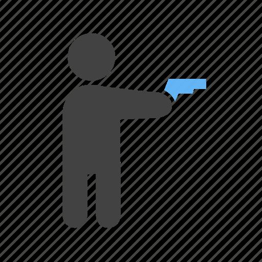 don, gun, holding, pistol icon