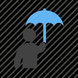 holding, protection, raining, umbrella icon