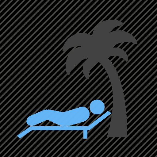 beach, coconut, lying, on, tree, under icon