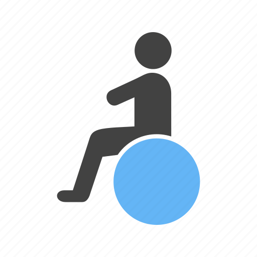 ball, on, sitting, wheelchair icon