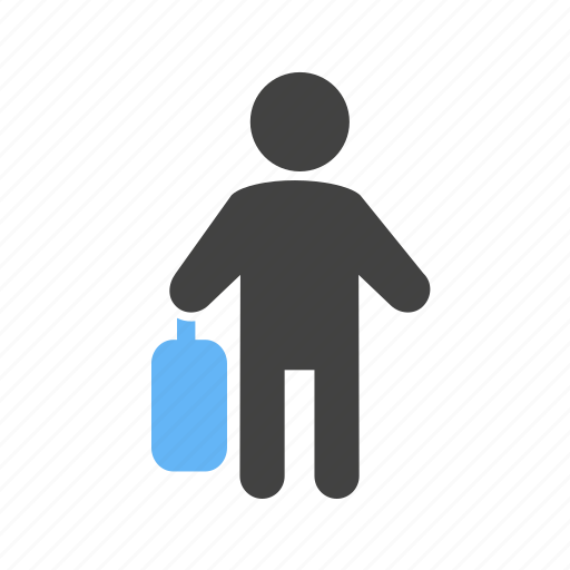 briefcase, business, man, walking, with icon