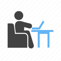 laptop, on, sofa, table, working icon